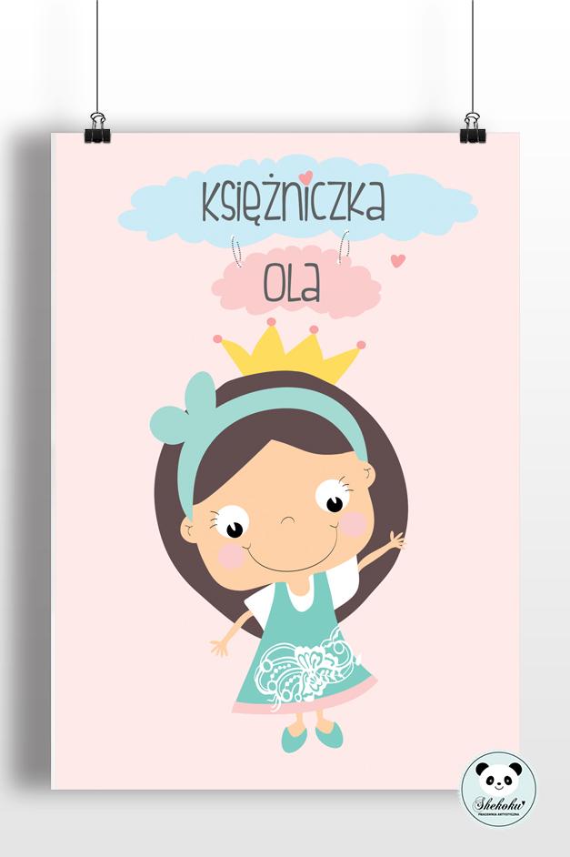 Plakat Księżniczka Z Imieniem Dziecka 3 Kolory