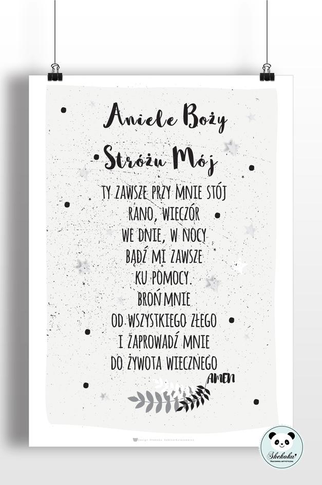 Plakat Aniele Boży Biało Czarny